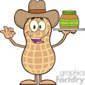 8641 Royalty Free RF Clipart Illustration Cowboy Peanut Cartoon Character Holding A Jar Of Peanut Butter Vector Illustration Isolated On White