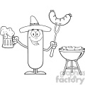 8471 Royalty Free RF Clipart Illustration Black And White Happy Mexican Sausage Cartoon Character Holding A Beer And Weenie Next To BBQ Vector Illustration Isolated On White
