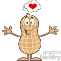 8635 royalty free rf clipart illustration funny peanut cartoon character thinking of love and wanting a hug vector illustration isolated on white gif, png, jpg, eps, svg, pdf
