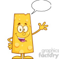 8502 Royalty Free RF Clipart Illustration Happy Cheese Cartoon Character Waving Vector Illustration Isolated On White