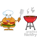 8571 Royalty Free RF Clipart Illustration Chef Hamburger Cartoon Character Holding A Slotted Spatula By A Barbeque Vector Illustration Isolated On White