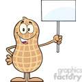 8637 Royalty Free RF Clipart Illustration Peanut Cartoon Character Holding Up A Blank Sign Vector Illustration Isolated On White