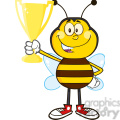 8378 Royalty Free RF Clipart Illustration Bee Cartoon Mascot Character Holding A Golden Trophy Vector Illustration Isolated On White