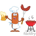 8463 Royalty Free RF Clipart Illustration Happy Chef Sausage Cartoon Character Holding A Beer And Weenie Next To BBQ Vector Illustration Isolated On White