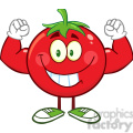 8391 Royalty Free RF Clipart Illustration Strong Tomato Cartoon Mascot Character Flexing Vector Illustration Isolated On White