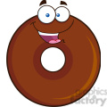 8705 Royalty Free RF Clipart Illustration Happy Chocolate Donut Cartoon Character Vector Illustration Isolated On White