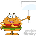 8565 Royalty Free RF Clipart Illustration Hamburger Cartoon Character Holding A Blank Sign Vector Illustration Isolated On White