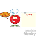 8397 Royalty Free RF Clipart Illustration Red Tomato Chef Cartoon Mascot Character Holding A Pizza And Menu Board Vector Illustration Isolated On White