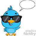 8824 Royalty Free RF Clipart Illustration Cute Blue Bird With Sunglasses Cartoon Character Waving With Speech Bubble Vector Illustration Isolated On White