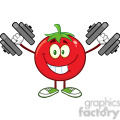 8387 Royalty Free RF Clipart Illustration Smiling Tomato Cartoon Mascot Character Training With Dumbbells Vector Illustration Isolated On White