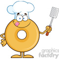 8650 Royalty Free RF Clipart Illustration Chef Donut Cartoon Character Holding A Slotted Spatula Vector Illustration Isolated On White