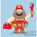 8542 royalty free rf clipart illustration african american mechanic cartoon character with wrench and tool box flat style vector illustration with background gif, png, jpg, eps, svg, pdf