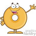 8646 Royalty Free RF Clipart Illustration Funny Donut Cartoon Character Waving Vector Illustration Isolated On White