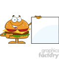 8569 Royalty Free RF Clipart Illustration Funny Hamburger Cartoon Character Pointing To A Blank Sign Vector Illustration Isolated On White