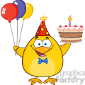 8618 Royalty Free RF Clipart Illustration Cute Yellow Chick Holding Up A Colorful Balloons And Birthday Cake Vector Illustration Isolated On White