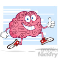 8804 Royalty Free RF Clipart Illustration Smiling Brain Cartoon Character Jogging And Giving A Thumb Up Vector Illustration With Background