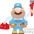 8539 Royalty Free RF Clipart Illustration Mechanic Cartoon Character With Wrench And Tool Box Flat Style Vector Illustration Isolated On White
