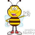 8373 Royalty Free RF Clipart Illustration Happy Bee Cartoon Mascot Character Waving Vector Illustration Isolated On White