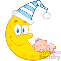 Royalty Free RF Clipart Illustration Cute Baby Girl Sleeps On The Smiling Moon With Sleeping Hat