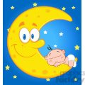Royalty Free RF Clipart Illustration Cute Baby Boy Sleeps On The Smiling Moon Over Blue Sky With Stars