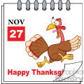 royalty free rf clipart illustration cartoon calendar page with cartoon turkey escape and happy thanksgiving greeting gif, png, jpg