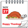 royalty free rf clipart illustration cartoon calendar page with roasted turkey and happy thanksgiving greeting gif, png, jpg