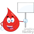 Royalty Free RF Clipart Illustration Red Blood Drop Cartoon Mascot Character Holding Up A Blank Sign
