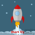 8304 Royalty Free RF Clipart Illustration Rocket Ship Start Up Concept Flat Style Vector Illustration With Text