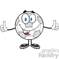 royalty free rf clipart illustration happy soccer ball cartoon character giving a double thumbs up  gif, png, jpg, eps, svg, pdf