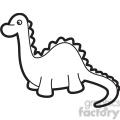 toy brachiosaurus dinosaur cartoon in black and white