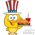 royalty free rf clipart illustration yellow chick cartoon character with usa patriotic hat holding a fast food tray vector illustration isolated on white gif, png, jpg, eps, svg, pdf