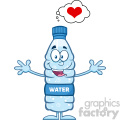 royalty free rf clipart illustration smiling water plastic bottle cartoon mascot character thinking of love and wanting a hug vector illustration isolated on white