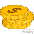 royalty free rf clipart illustration three golden dollars vector illustration isolated on white background gif, png, jpg, eps, svg, pdf