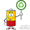royalty free rf clipart illustration cute battery cartoon mascot character holding a recycle sign vector illustration isolated on white gif, png, jpg, eps, svg, pdf