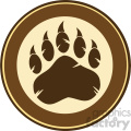 royalty free rf clipart illustration brown bear paw print circle label design vector illustration isolated on white background