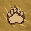 royalty free rf clipart illustration brown bear paw with claws vector illustration with scratches grunge background