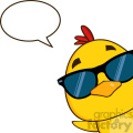 royalty free rf clipart illustration yellow chick cartoon character wearing sunglasses and peeking around a corner with speech bubble vector illustration gif, png, jpg, eps, svg, pdf