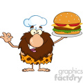 chef male caveman cartoon mascot character holding a big burger and gesturing ok vector illustration  gif, png, jpg, eps, svg, pdf