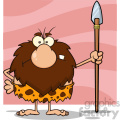 9908 angry male caveman cartoon mascot character standing with a spear vector illustration  gif, png, jpg, eps, svg, pdf