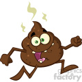 royalty free rf clipart illustration funny poop cartoon character running vector illustration isolated on white backgrond