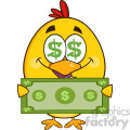 royalty free rf clipart illustration cute yellow chick cartoon character with dollar symbol eyes, holding cash money vector illustration isolated on white gif, png, jpg, eps, svg, pdf
