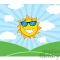 royalty free rf clipart illustration sunshine smiling sun mascot cartoon character with sunglasses over landscape vector illustration with suburst background gif, png, jpg, eps, svg, pdf