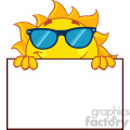 royalty free rf clipart illustration cheerful sun cartoon mascot character with sunglasses over a sign blank board vector illustration isolated on white background gif, png, jpg, eps, svg, pdf