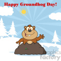 royalty free rf clipart illustration happy marmmot cartoon character waving in groundhog day vector illustration greeting card gif, png, jpg, eps, svg, pdf