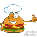 illustration winking chef burger cartoon mascot character showing thumbs up vector illustration isolated on white background