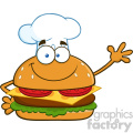 illustration smiling chef burger cartoon mascot character waving for greeting vector illustration isolated on white background