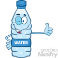 illustration cartoon ilustation of a water plastic bottle mascot character winking and holding a thumb up vector illustration isolated on white background