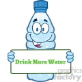 of a water plastic bottle cartoon mascot character holding a sign with text drink more water vector illustration isolated on white background