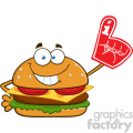 illustration smiling burger cartoon mascot character showing a number 1 foam finger vector illustration isolated on white background gif, png, jpg, eps, svg, pdf