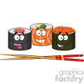 illustration sushi roll set cartoon characters with chopsticks vector illustration